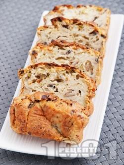 Солен кекс с гъби и праз - снимка на рецептата